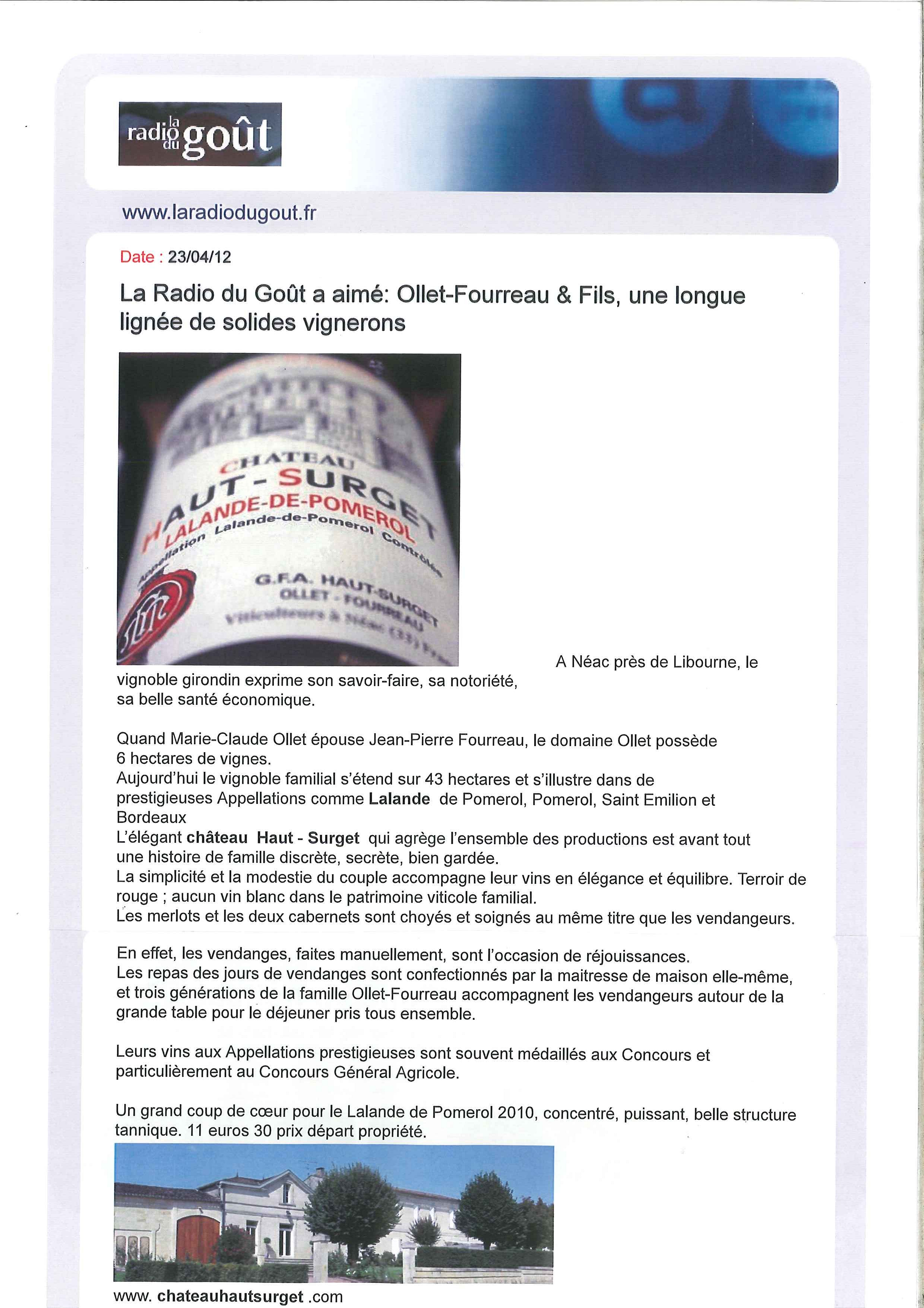 Article Château Haut Surget sur la Radio du Goût